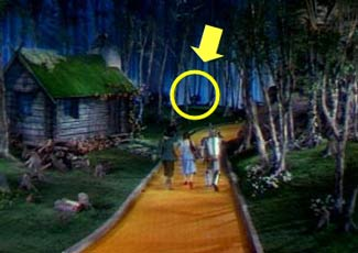 friend told me that in one scene of the Wizard of Oz you can see